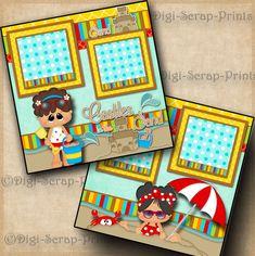 SAND CASTLES beach girl 2 premade scrapbook pages layout paper piecing DIGISCRAP #DigiScrapPrints