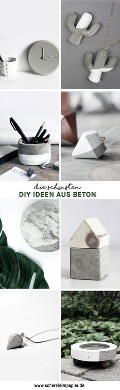 DIY Ideen mit Beton: Selbstgemachte DIY Deko, DIY Geschenkideen und vieles mehr! Alle Anleitungen zu finden bei schereleimpapier.de | #beton #concrete #diy #basteln | crafting ideas with concrete |
