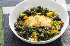 Macadamia-Crusted Cod with Black Rice, Golden Beet & Avocado Salad. Visit http://www.blueapron.com/ to receive the ingredients.