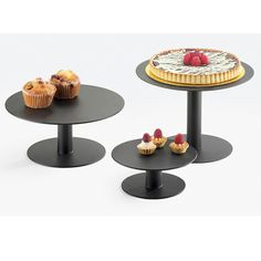 12DIA x 3H Iron Pedestal Risers Black Small