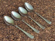 """Rogers Stream Teaspoon 4 Spoons Rogers Stainless Flatware Silverware Wavy 6 7/8"""" #Rogers #stream"""
