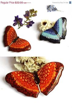 ON SALE Vinous Butterfly brooch pin Free shipping by Dinabijushop