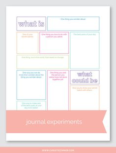 Journal Experiments - Printable Guided Journal Pages — Christie Zimmer Daily Journal, Journal Prompts, Journal Pages, Writing Prompts, Nature Journal, Art Journals, Visual Journals, Writing Ideas, Bullet Journals