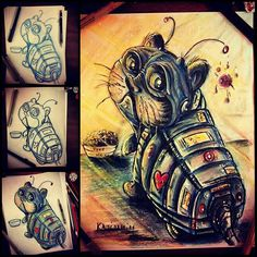 """Cool series of #coloredpencil #penandink progression #drawing pics by Keith Murrell (@kanimations on Twitter) of a #robot #cat (looks a bit like """"grumpy cat"""" to me...). From #sketch to #ink to draft color to finished work.  Keith (@kanimationstudios on IG) is great about posting these types of images of his #artwork all straight from his #imagination. Be sure to check out his work!  #AnimalAirship"""