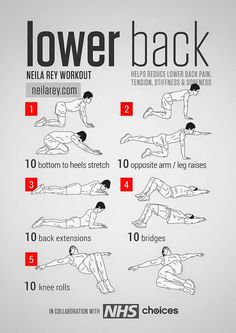 Photo: Lower Back Workout Helps reduce lower back pain, tension, stiffness & soreness. #fitness #workout #lowerbackpain PDF: http://darebee.com/workouts/lower-back-workout.html