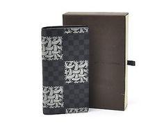 Auth Louis Vuitton Damier Graphite Nemeth Portefeuille Brazza Long Wallet 92755
