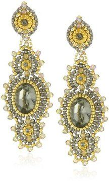 Miguel Ases Soft Pewter Crystal Centered Earrings on shopstyle.com