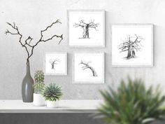 Black and white wall art prints of baobab trees for your living room or bedroom. Visit my Etsy store to shop my range of prints and print sets inspired by African nature.  #baobabtreedecor #africandecorideas #africandecorlivingroomwallart #africandecorbedroom #interiordesignideas   #walldecorideas #walldecorlivingroom #walldecorbedroom #fineartprints #finearthomedecor #printablefineart  #monochromebedroom #monochromelivingroom #minimalisthome #blackandwhitebedroomideas… Tree Wall Art, Wall Art Decor, Wall Art Prints, Fine Art Prints, Black And White Living Room, Black And White Wall Art, Artwork For Living Room, Living Room Pictures, Giraffe Drawing