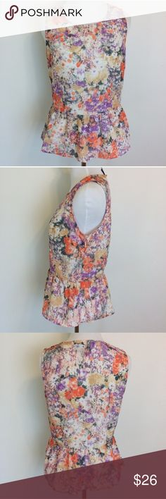 """Anthropologie Cynthia Rowley Floral Peplum Top Gorgeous Cynthia Rowley Floral Peplum Tank Top. Size small. 100% polyester. Side zip. Underarm measurement is 18.5"""". Waist measurement is 15.5"""". Length is 22.5"""" shoulder to hem. Anthropologie Tops"""