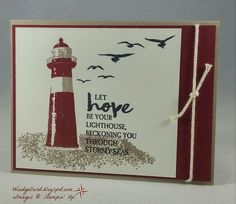 I played with the High Tide set again for my fourth card for card class this week. I stamped the first stamp of the lighthouse i. Masculine Birthday Cards, Birthday Cards For Men, Masculine Cards, High Tide Stampin Up, Nautical Cards, Nautical Theme, Beach Cards, Get Well Cards, Pretty Cards