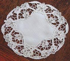 Em's Heart Antique Linens -Antique Embroidered Italian Linen Needlelace Cocktail Mats Doilies