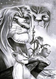 lion king blakc & white sketch
