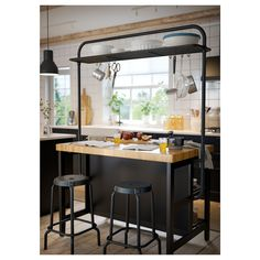 IKEA - VADHOLMA, Rack for kitchen island, black, Gives you extra storage in your kitchen. Ten hooks for hanging kitchen utensils are included. Kitchen Shelves, Diy Kitchen, Kitchen Decor, Kitchen Cabinets, Kitchen Rack, Kitchen Ideas, Diy Storage Rack, Extra Storage, Industrial Kitchen Island