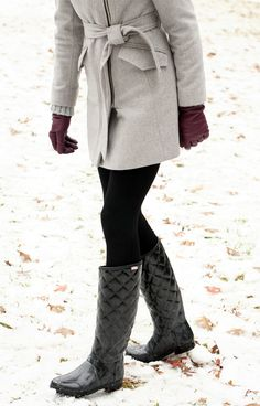Winter Outfit // grey coat, black leggings, black quilted hunter boots, black beanie, purple leather gloves, layers
