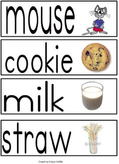 If You Give a Mouse a Cookie - Free printable word wall cards.  Fun way to introduce some word attack strategies!