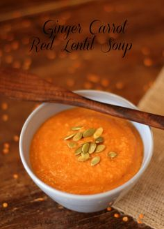 Ginger Carrot Red Lentil Soup from my Kitchen in the Rockies Note from Nicole - This soup is super easy to make and very tasty.  I will add more carrot the next time.  I used the soup wand at the end to lightly puree.
