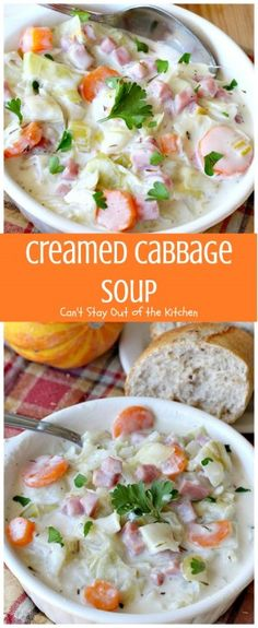 Creamed Cabbage Soup | Can't Stay Out of the Kitchen | this tasty #soup is awesome comfort food. It's made with #ham #cabbage & other veggies in a delicious creamy sauce. We love this #glutenfree chowder.
