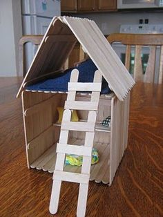 47 Crafts to Make with Skewers, Straws, and Popsicle Sticks - like this Popsicle Stick House