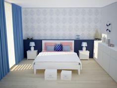 Piękne i stylowe dekoracje do sypialni w stylu marine.