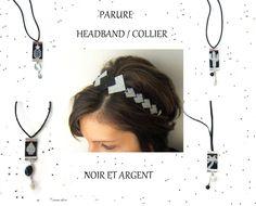 Parure Headband Tissé / Bijou de Tête / Bandeau Cheveux et Sautoir Femme Noir et Argent : Parure par emma-shop