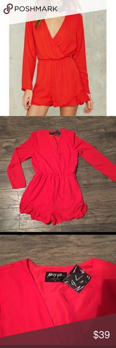 Authentic Nasty Gal Red Romper size large NWT! Red Nasty gal romper brand new with tags! Plunging neck line, forgiving elastic waist, and ruffled shorts looks great on curves! If your modest throw on a tank underneath, if not show those girls! Sexy either way!! Rompers are a must have in fashion right now and this one is absolutely stunning! 😍 Nasty Gal Pants Jumpsuits & Rompers