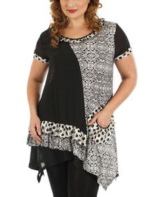 Look at this #zulilyfind! Black & White Arabesque Handkerchief Tunic - Plus by Lily #zulilyfinds