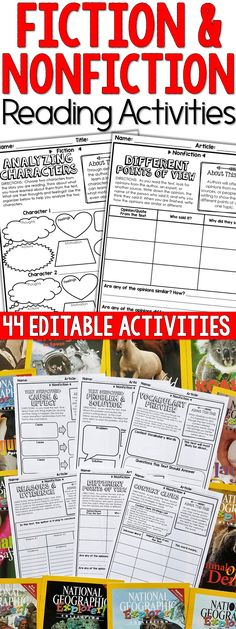 EDITABLE Fiction and Nonfiction Reading Activities to reinforce reading comprehension skills. Perfect for reading centers and guided readings lesson. No Prep and 100% Editable. Comparing Texts | Text Structure | Making Inferences | Context Clues | Making Predictions | Point of View | Problem and Solution | Cause and Effect | Chronological Order | Compare and Contrast