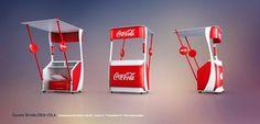 idea for a counter to cocacola brand Shop Display Stands, Pop Display, Display Design, Booth Design, Coca Cola Promo, Food Cart Design, Christmas Village Accessories, Coca Cola Decor, Kiosk Design
