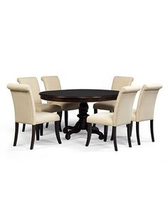 For Formal/Dining Room: Bradford Dining Room Furniture, 7 Piece Dining Set (Round Table and 6 Upholstered Chairs) - furniture - Macy's.