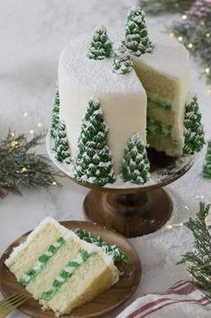 photo of a christmas tree cake covered in buttercream pine trees and dusted wi. A photo of a christmas tree cake covered in buttercream pine trees and dusted wi., A photo of a christmas tree cake covered in buttercream pine trees and dusted wi. Christmas Tree Cake, Christmas Sweets, Christmas Cooking, Christmas Christmas, Christmas Birthday Cake, Creative Christmas Food, Chocolate Christmas Cake, Cake Birthday, Christmas Wedding Cakes