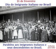 Parabéns aos Imigrantes Italianos e seus descendentes no Brasil. Eu também, com muita honra, sou descendente de italianos, família Bello.