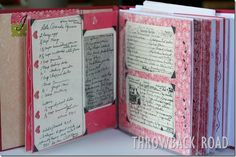 Cookbook Scrapbook - a fun way to pass on those precious family favorite recipes! Love the old-fashioned look of this, yet made with a modern feel (pretty papers!) ~ fabulous!