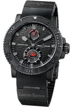 Ulysse Nardin Black Ocean Limited Edition - Black is magic. Available exclusively in a black DLC (diamond-like carbon) treated and hardened stainless steel case, this ingenious technology allows a scratch proof surface. The attractive wave-patterned black dial supports hour and minute hands that glow in the dark.