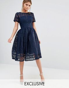 Chi Chi London | Chi Chi London Premium Lace Dress with Cutwork Detail and Cap Sleeve at ASOS