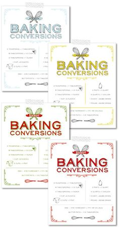 Free printable: Vintage baking conversion charts in four different colors