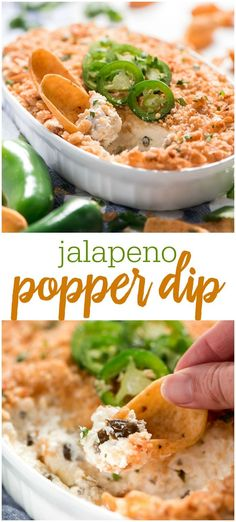 Jalapeño Popper Dip is packed with 4 kinds of cheese, just enough spicy Jalapeños to give it a kick, and a golden crispy topping. This dip is sure to be a hit at your next party! Easy Appetizer Recipes, Appetizer Dips, Yummy Appetizers, Dip Recipes For Parties, Party Recipes, Party Snacks, Keto Snacks, Holiday Recipes, Jalapeno Popper Dip