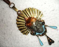 "4.5"" PENDANT Agate NECKLACE Copper Brass MEXICO Aztec Maya Inca PRIORITY MAIL #Unbranded #IncaMayaAztecMexicoArtisanStatement"