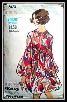 Vintage 1969 Rare Vogue Dress 7675   Size  16 by ThePatternShopp, $60.00