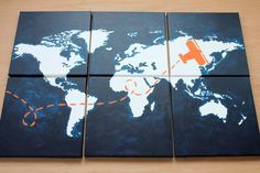 """come fly with me. world map with airplane. 6- 12""""x12"""" canvas. custom colors . match your decor. oh the places you will go. navy orange gray"""