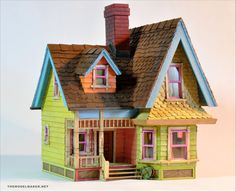 "Absolutely the best dollhouse replica work I've seen in a long time! 1:48 scale replica of ""Up"" house. deviant art"