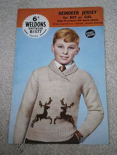 Vintage Knitting Pattern Weldons Reindeer Christmas Jumper Reindeer Christmas Jumper, Christmas Jumpers, Christmas Sweaters, Beading Patterns, Knitting Patterns, Knitting Charts, Christmas Knitting, Vintage Knitting, Vintage Children