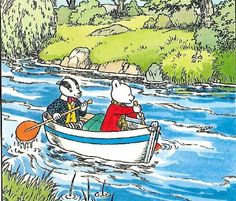 Rupert the bear and badger in a boat on the river