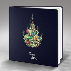 The Christmas card is made of high quality dark blue paper. The dark blue cover has laser cut and hot stamp silver foil Christmas tree. The insert is mat white and the colour front side gives the background for the Christmas tree on the cover. The envelope is included.