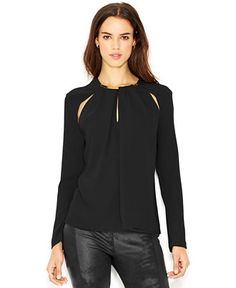 RACHEL Rachel Roy Long-Sleeve Necklace Blouse - Tops - Women - Macy's