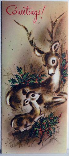 1960s Reindeer  Vintage Christmas Card