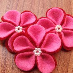 3D Handmade 5 Petals Beaded Felt Flowers - Red & Hot Pink 55 x 55 mm - D00159