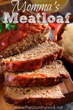 Momma's best meatloaf is not the old-school dry meatloaf from our childhood. This ground beef meatloaf is full of flavor and is moist and scrumptious! Good Meatloaf Recipe, Best Meatloaf, Meatloaf Recipes, Meat Recipes, Cooking Recipes, Oven Meatloaf, Old School Meatloaf Recipe, Pork And Beef Meatloaf, Easy Meatloaf Recipe With Bread Crumbs