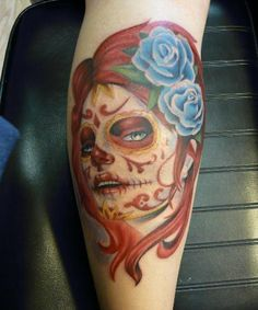 New school green day of the dead tattoos for women day for Old school day of the dead tattoo