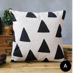 Geometric black and white decorative pillows linen modern minimalist Sofa cushions