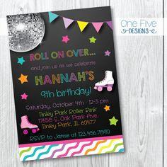 Roller Skating Birthday Party Invitation for Girls - Printable (5x7)